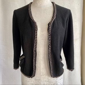 Nordstrom Chanel-Style Knit Jacket Silver Chains